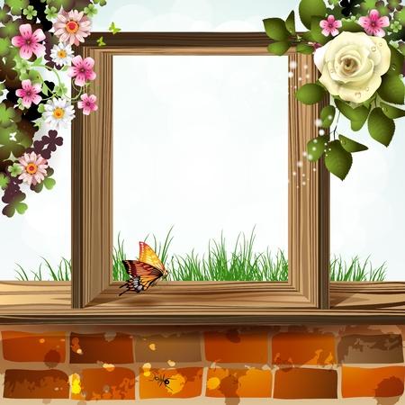 swarm: Window frame with flowers