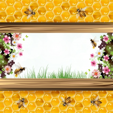 animal themes: Landscape frame with flower, bees and honeycombs