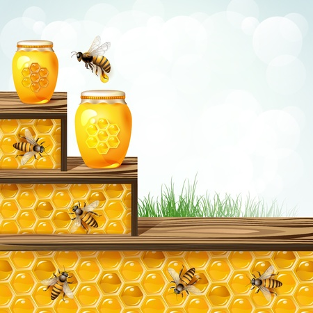 Landscape frame with glass jar bees and honeycombs