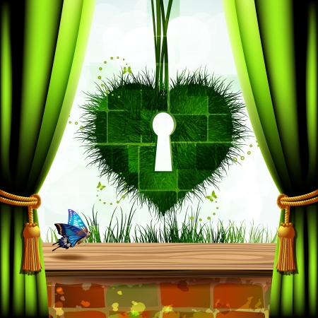 Heart of grass with keyhole and green curtain photo