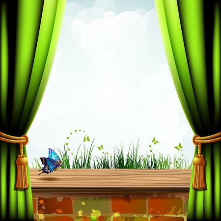windows frame: Landscape with brick wall covered by wood and green curtain
