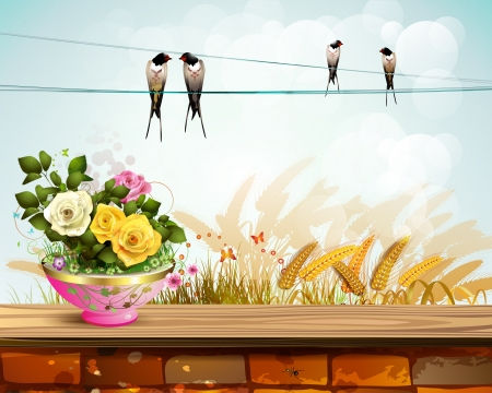Flowerpot with roses over landscape