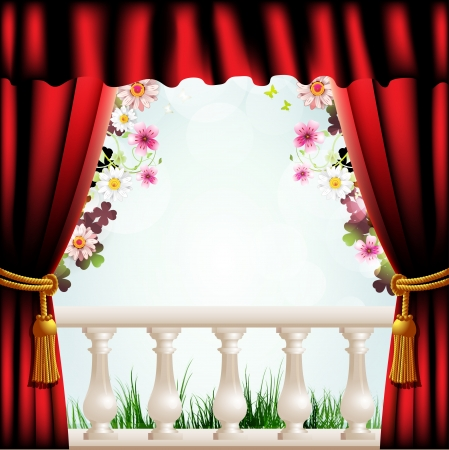 window curtains: Railing with columns and red curtain