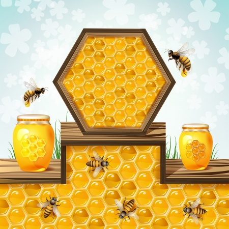 beehive: Glass jar with bees and honeycombs
