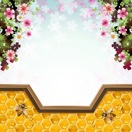 Flowers with bees and honeycombs