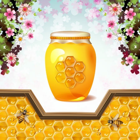 honey jar: Glass jar with bees and honeycombs