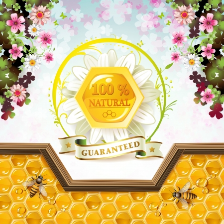 beehive: Honey and bees over floral background Illustration