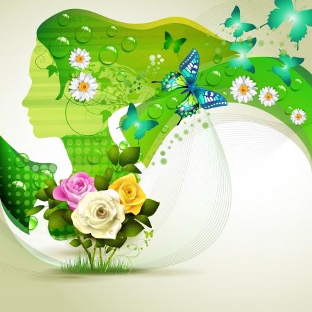 donna farfalla: Stilizzato ritratto di verde con fiori e farfalle Vettoriali