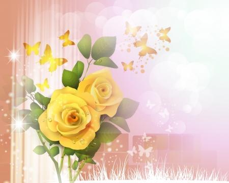 Achtergrond met rozen en vlinders