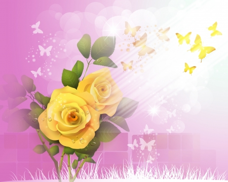 Background with yellow roses and butterflies  Vector