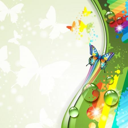 fr�hlingsfest: Bunter Hintergrund mit Schmetterling Illustration