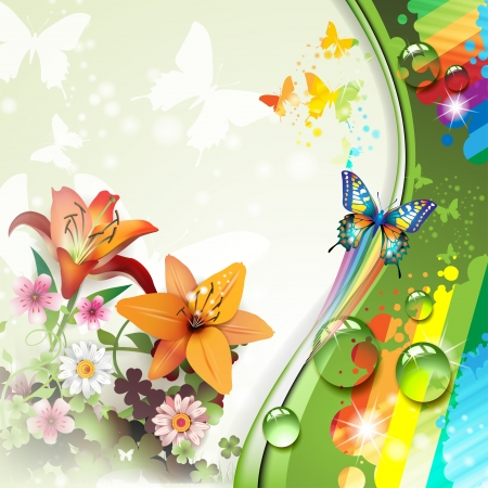 Background with lilies and butterflies Vector