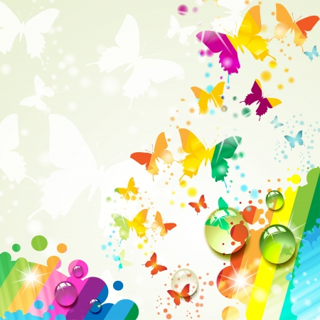 Colorful background with butterfly  Stock Vector - 14499443