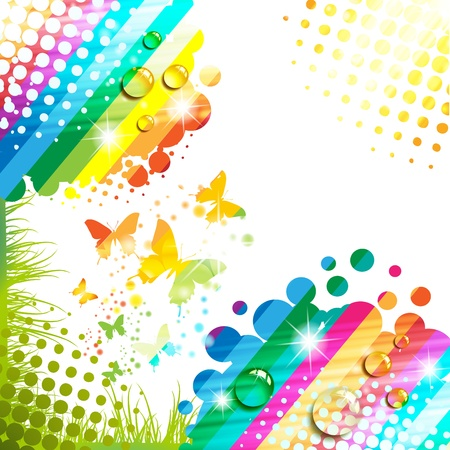 summer festival: Colorful background with butterfly