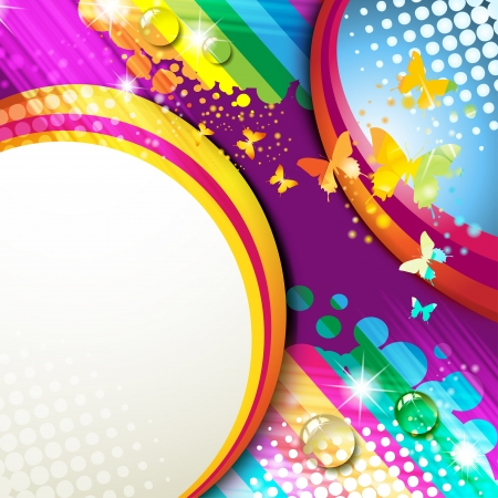 summer festival: Colorful abstract background with butterflies  Illustration