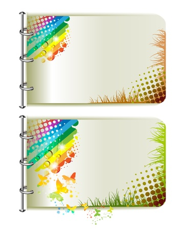 Two banners, colorful background with butterflies Vector