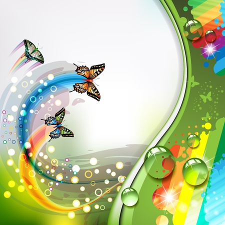 Colorful abstract background with butterflies  Illustration