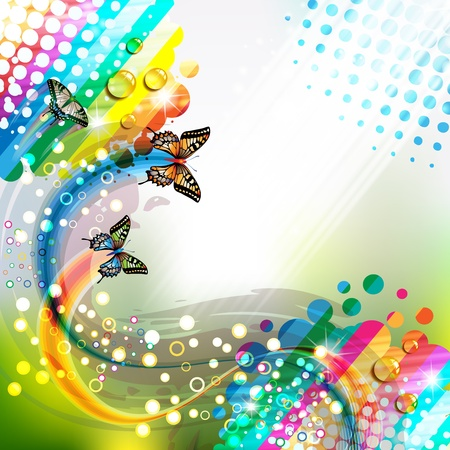 colorful butterfly: Colorful abstract background with butterflies