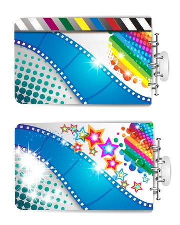 Banner with film frames and stars  Vector