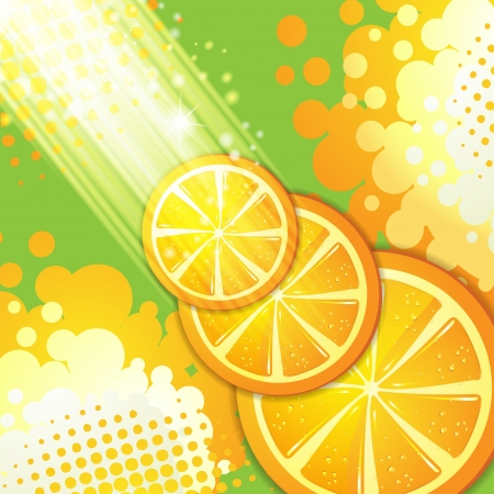 Slices orange with rays of light  Stock Vector - 14499468