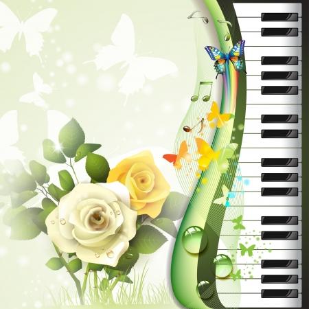 Gül ve kelebekler ile piyano tuşları