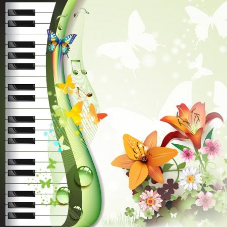 백합과 나비와 함께 피아노 키 일러스트