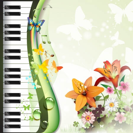 black piano: Piano keys with lilies and butterflies