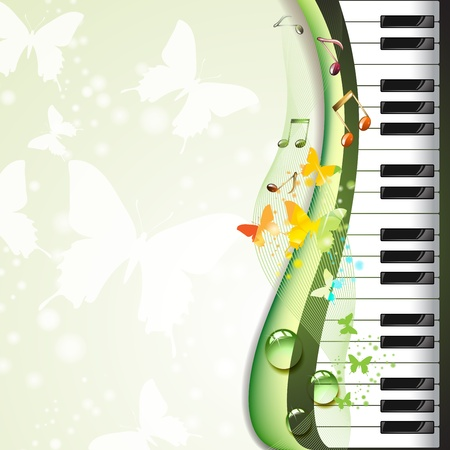piano key: Piano keys with butterflies and drops  Illustration