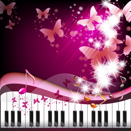Piano keys with butterflies and stars  Vector