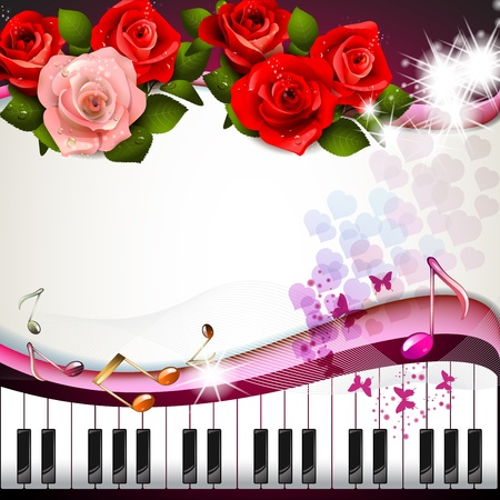 Piano keys with roses and butterflies  Vector