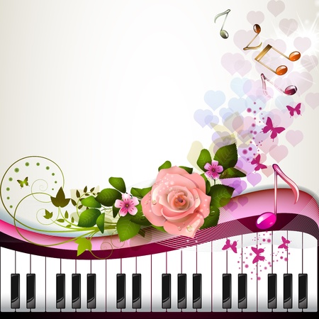 Piano keys with rose and butterflies  Ilustracja