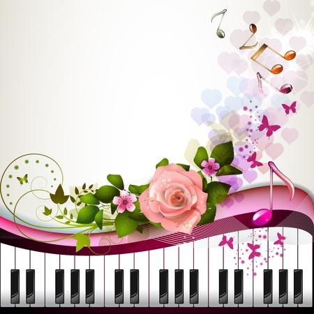 Tasti di pianoforte con rosa e farfalle