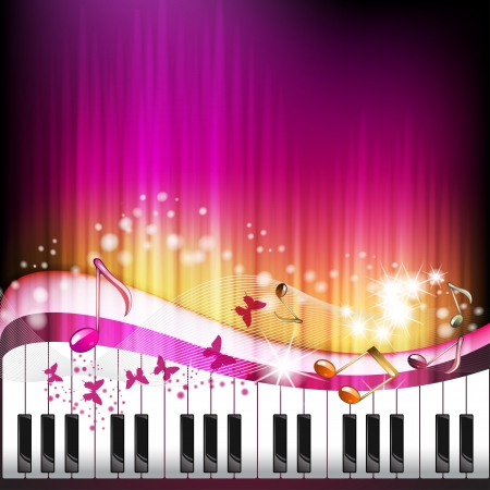 Piano keys with butterflies and stars