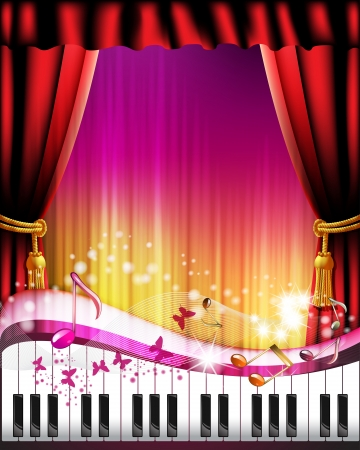 Piano keys with red curtain, butterflies and stars  Vector