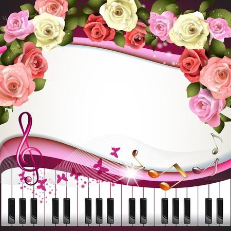 鋼琴: 鋼琴鍵與玫瑰和蝴蝶 向量圖像