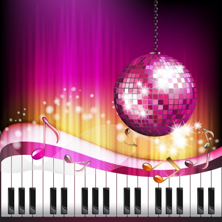 Piano keys with butterflies and disco globe  Vector