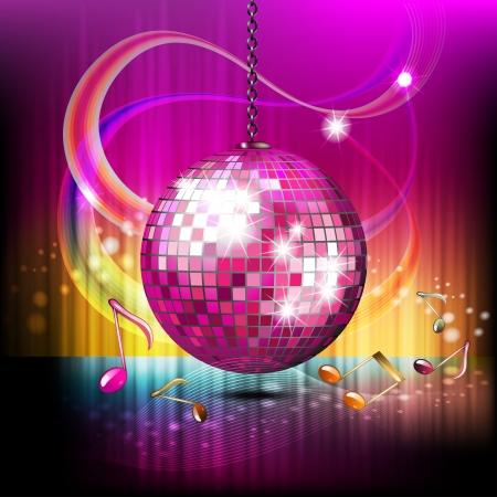 Muzieknoten met disco bol