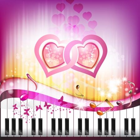 Kelebekler ve sevgi kalpleri ile piyano tuşları