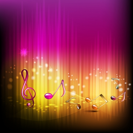 Musical notes with rays Vector