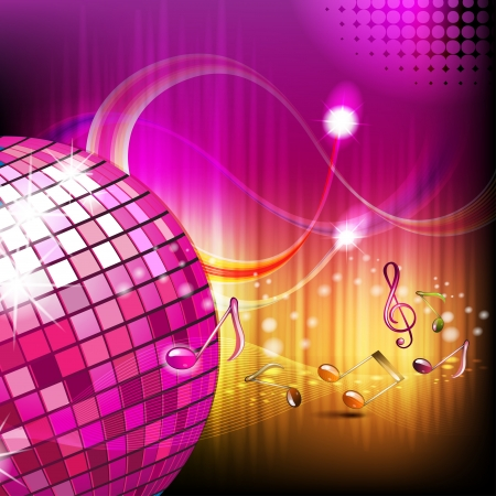 Musical notes with disco globe  Vector