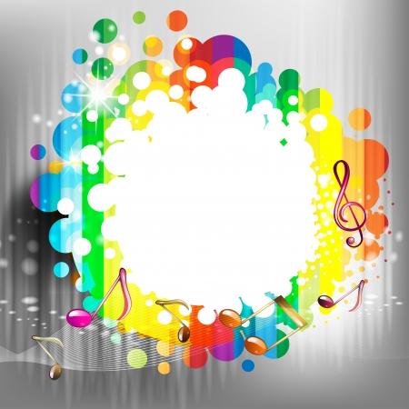 Renkli soyut arka plan ile müzik notlar Illustration