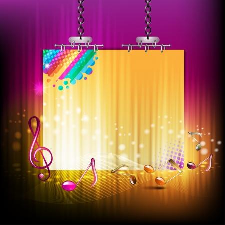 Banner met muzieknoten en roggen