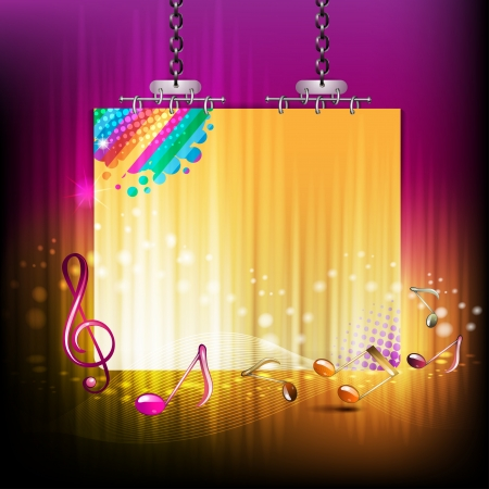 disco lights: Banner with musical notes and rays