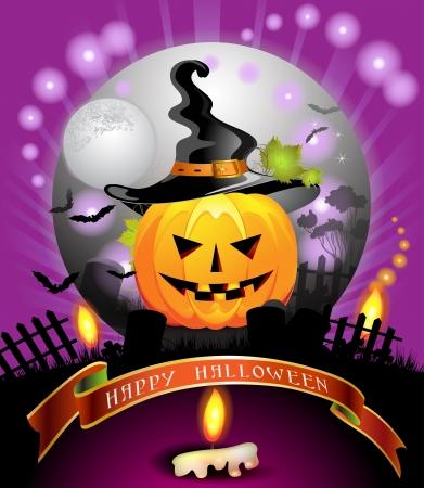 Halloween card design with pumpkin Vector