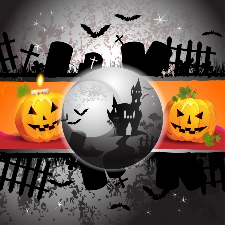 ghost house: Halloween card design with pumpkin and ghost house  Illustration