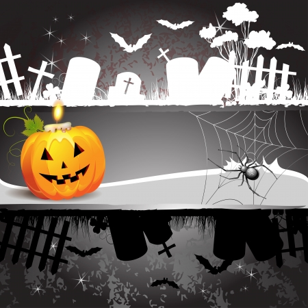 Halloween card design with pumpkin and cemetery  Vector