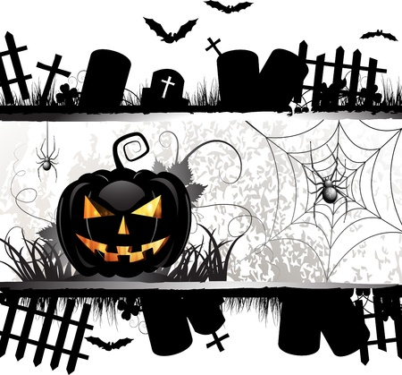 halloween pumpkin: Halloween card design with pumpkin and ghost house