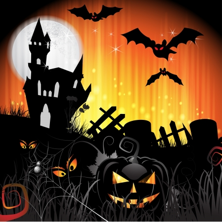 Halloween card design with pumpkin and ghost house Vector