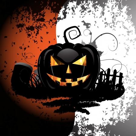 Halloween achtergrond met begraafplaats en pompoen Stock Illustratie