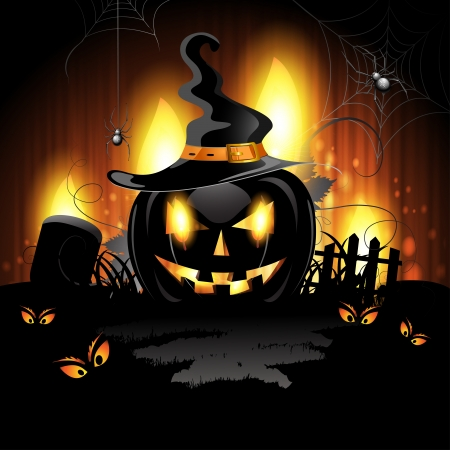 halloween pumpkin: Halloween background with cemetery and pumpkin